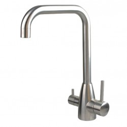 3 Three Way Kitchen Mixer Tap Hot Cold Pure Stainless Steel Square