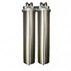 "Twin Whole House Big Stainless Steel 20"" Water Filter System GAC"