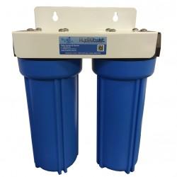 "Twin Under Sink High Flow Filter System for Mixer Tap 1um 10"""