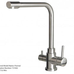 3 Three Way Kitchen Mixer Tap Hot Cold Pure Stainless Steel Tall