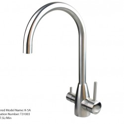 3 Three Way Mixer Tap Hot Cold Filtered Stainless Steel Round